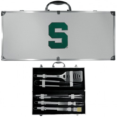 Michigan State Spartans 8 Piece Stainless Steel BBQ Set w/Metal Case