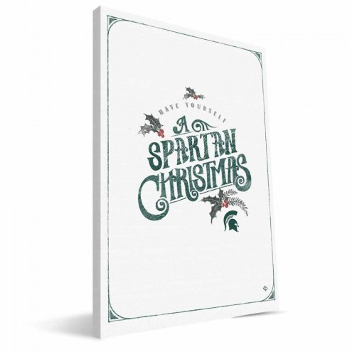 """Michigan State Spartans 8"""" x 12"""" Merry Little Christmas Canvas Print"""
