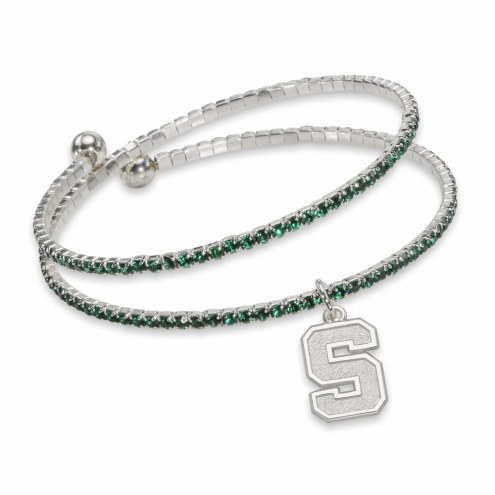 Michigan State Spartans Amped Logo Crystal Bracelet