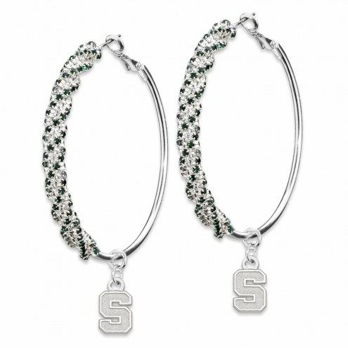 Michigan State Spartans Amped Logo Crystal Earrings