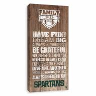 Michigan State Spartans Family Rules Icon Wood Printed Canvas