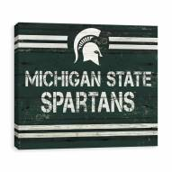 Michigan State Spartans Rustic Banner Large Logo Printed Canvas