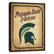Michigan State Spartans Vintage Card Printed Canvas