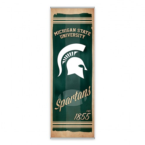 Michigan State Spartans Watercolor Printed Canvas Banner