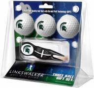 Michigan State Spartans Black Crosshair Divot Tool & 3 Golf Ball Gift Pack