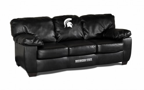 Michigan State Spartans Black Leather Classic Sofa