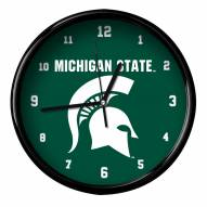 Michigan State Spartans Black Rim Clock