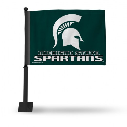 Michigan State Spartans Car Flag with Black Pole
