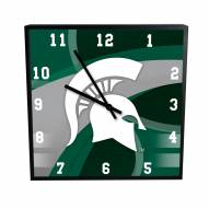 Michigan State Spartans Carbon Fiber Square Clock