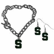 Michigan State Spartans Chain Bracelet & Dangle Earring Set
