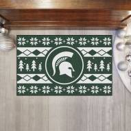 Michigan State Spartans Christmas Sweater Starter Rug