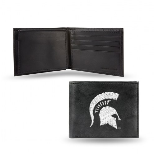 Michigan State Spartans College Embroidered Leather Billfold Wallet