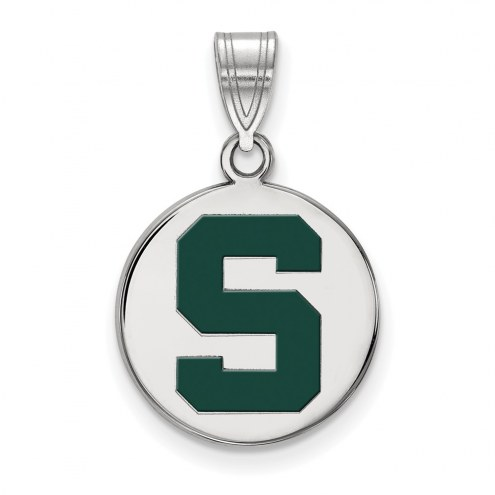 Michigan State Spartans Sterling Silver Medium Enameled Disc Pendant