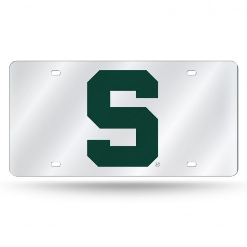 Michigan State Spartans College Silver Laser License Plate