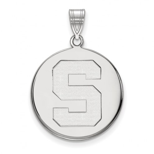 Michigan State Spartans Sterling Silver Large Disc Pendant