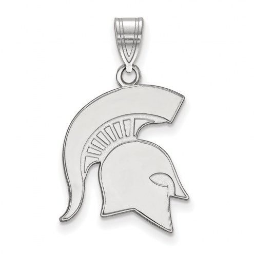 Michigan State Spartans Sterling Silver Large Pendant