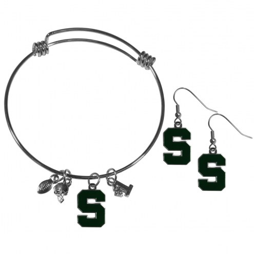 Michigan State Spartans Dangle Earrings & Charm Bangle Bracelet Set