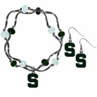 Michigan State Spartans Dangle Earrings & Crystal Bead Bracelet Set