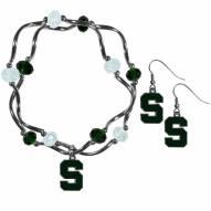 Michigan State Spartans Dangle Earrings & Crystal Bead Bracelet Set