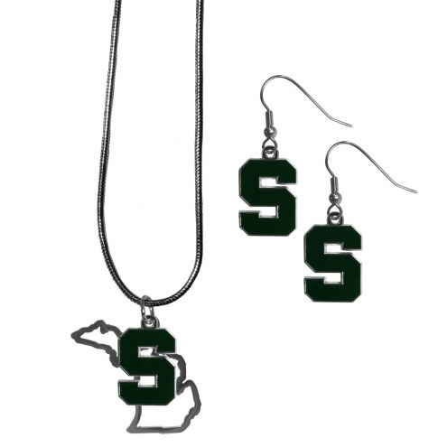 Michigan State Spartans Dangle Earrings & State Necklace Set