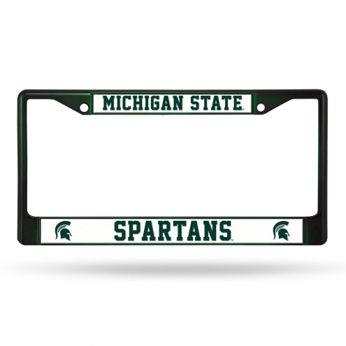 Michigan State Spartans Dark Green Colored Chrome License Plate Frame