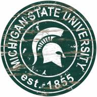 Michigan State Spartans Distressed Round Sign