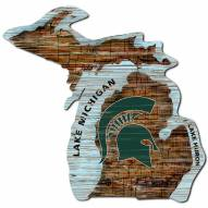 Michigan State Spartans Distressed State with Logo Sign
