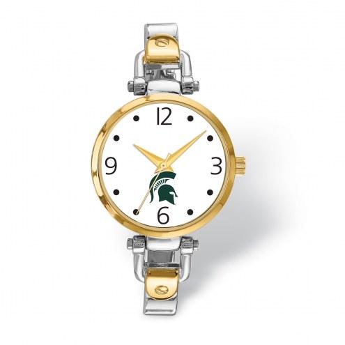 Michigan State Spartans Elegant Ladies Two-Tone Watch