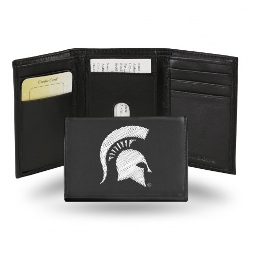 Michigan State Spartans Embroidered Leather Tri-Fold Wallet