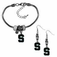 Michigan State Spartans Euro Bead Earrings & Bracelet Set