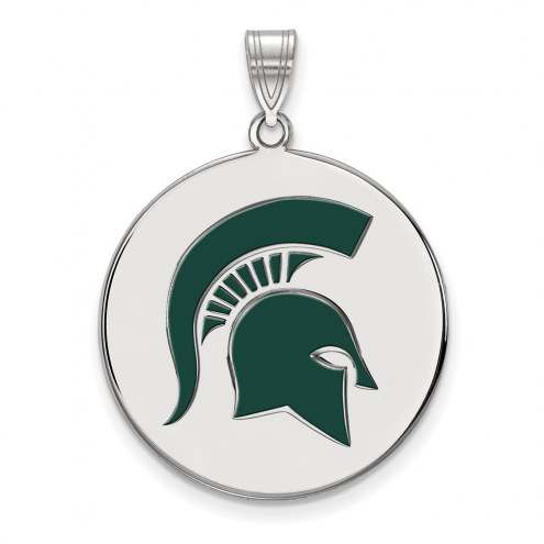 Michigan State Spartans Sterling Silver Extra Large Enameled Disc Pendant