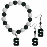 Michigan State Spartans Fan Bead Earrings & Bracelet Set