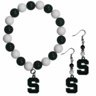 Michigan State Spartans Fan Bead Earrings & Bracelet Set