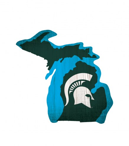 Michigan State Spartans Logo State Wood Sign