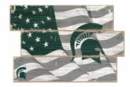 Michigan State Spartans Flag 3 Plank Sign