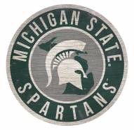 Michigan State Spartans Round State Wood Sign