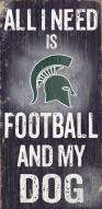 Michigan State Spartans Football & Dog Wood Sign