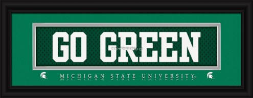 """Michigan State Spartans """"Go Green"""" Stitched Jersey Framed Print"""