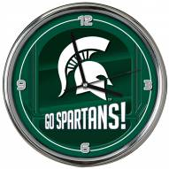 Michigan State Spartans Go Team Chrome Clock
