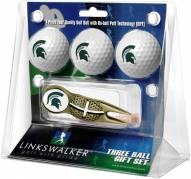 Michigan State Spartans Gold Crosshair Divot Tool & 3 Golf Ball Gift Pack