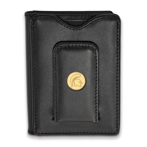 Michigan State Spartans Sterling Silver Gold Plated Black Leather Wallet