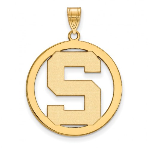 Michigan State Spartans Sterling Silver Gold Plated Large Circle Pendant