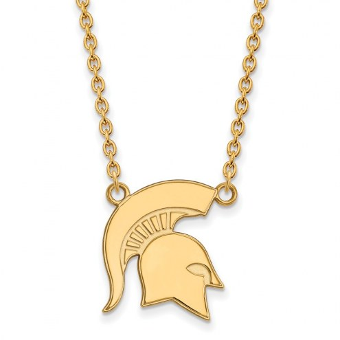 Michigan State Spartans Sterling Silver Gold Plated Large Pendant Necklace