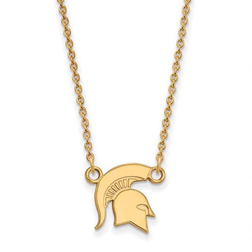 Michigan State Spartans Sterling Silver Gold Plated Small Pendant Necklace