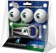 Michigan State Spartans Golf Ball Gift Pack with Hat Trick Divot Tool