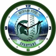Michigan State Spartans Home Run Wall Clock