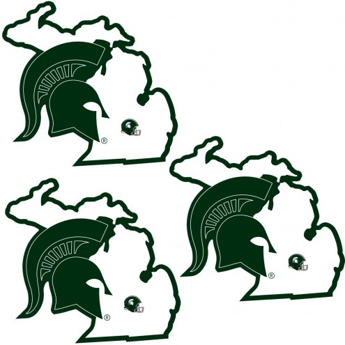 Michigan State Spartans Home State Decal - 3 Pack