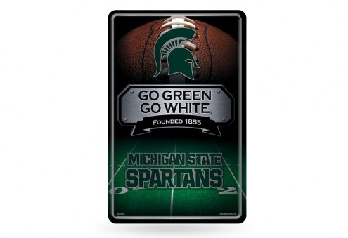 Michigan State Spartans Large Embossed Metal Wall Sign
