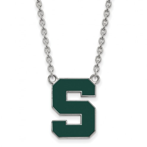 Michigan State Spartans Sterling Silver Large Enameled Pendant Necklace