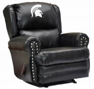 Michigan State Spartans Leather Coach Recliner